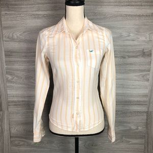 Hollister White and Orange Stripe Shirt Size S